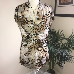 Milano Front & Side Gather Animal Print Jersey Top